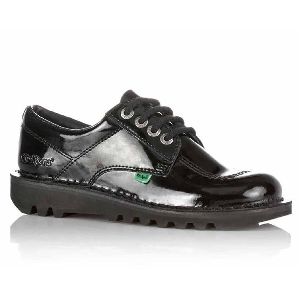 kickers school shoes kick lo black patent millars shoe