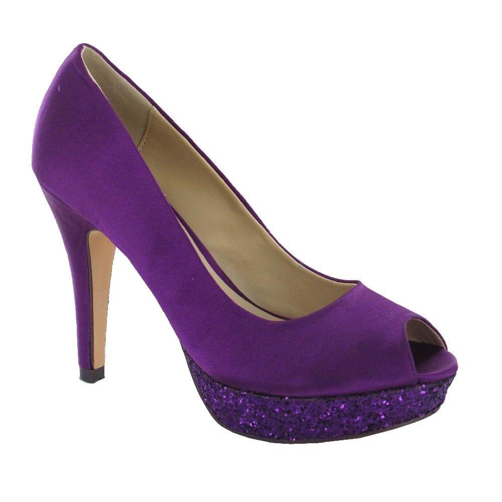 menbur 005989 purple platform peep toe