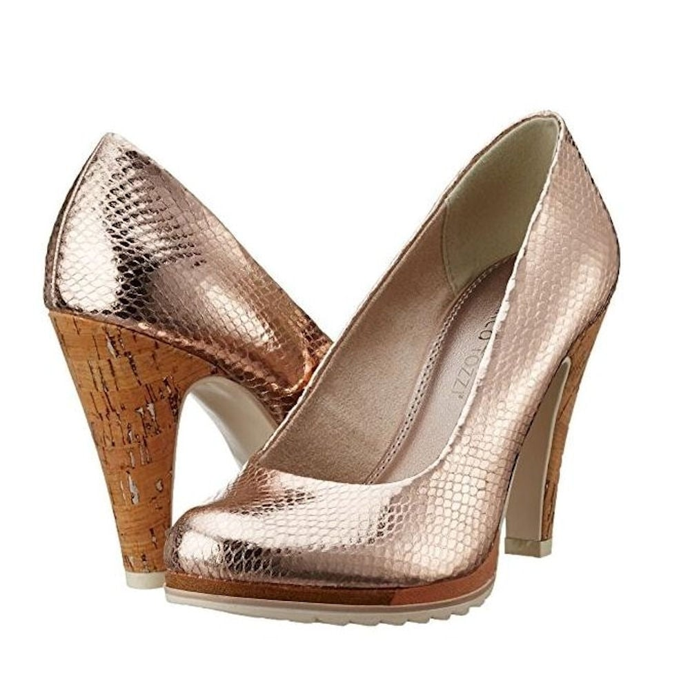 ... Marco Tozzi Rose Gold Court Heels ...
