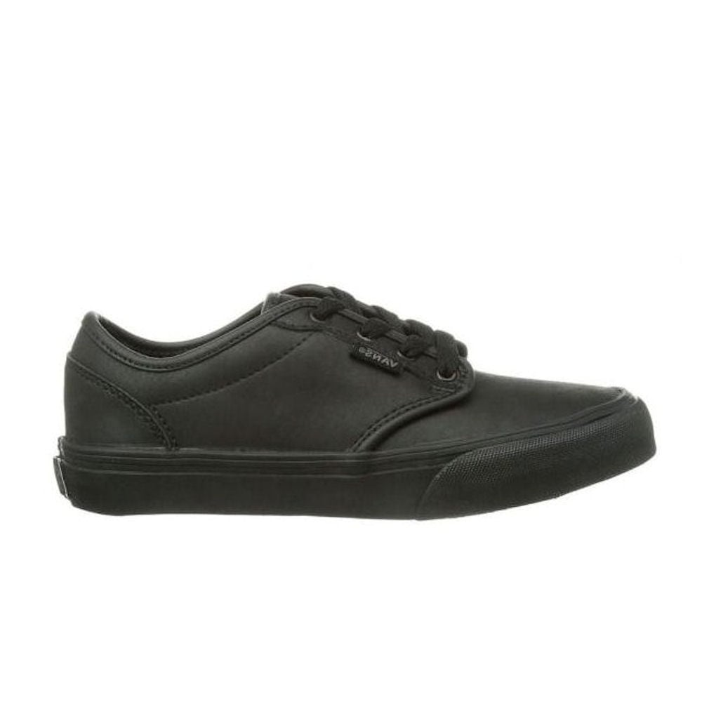 ... Vans Kids Atwood Triple Black Leather Youth Shoes