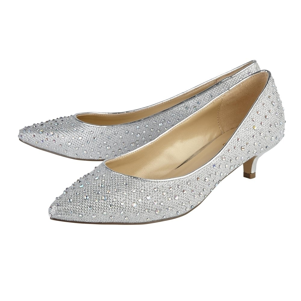 Silver diamante 'Pinnacle' mid kitten heel court shoes from china cheap price buy cheap shop offer sale shop sale cheap fashion Style cheap price 0RZHt