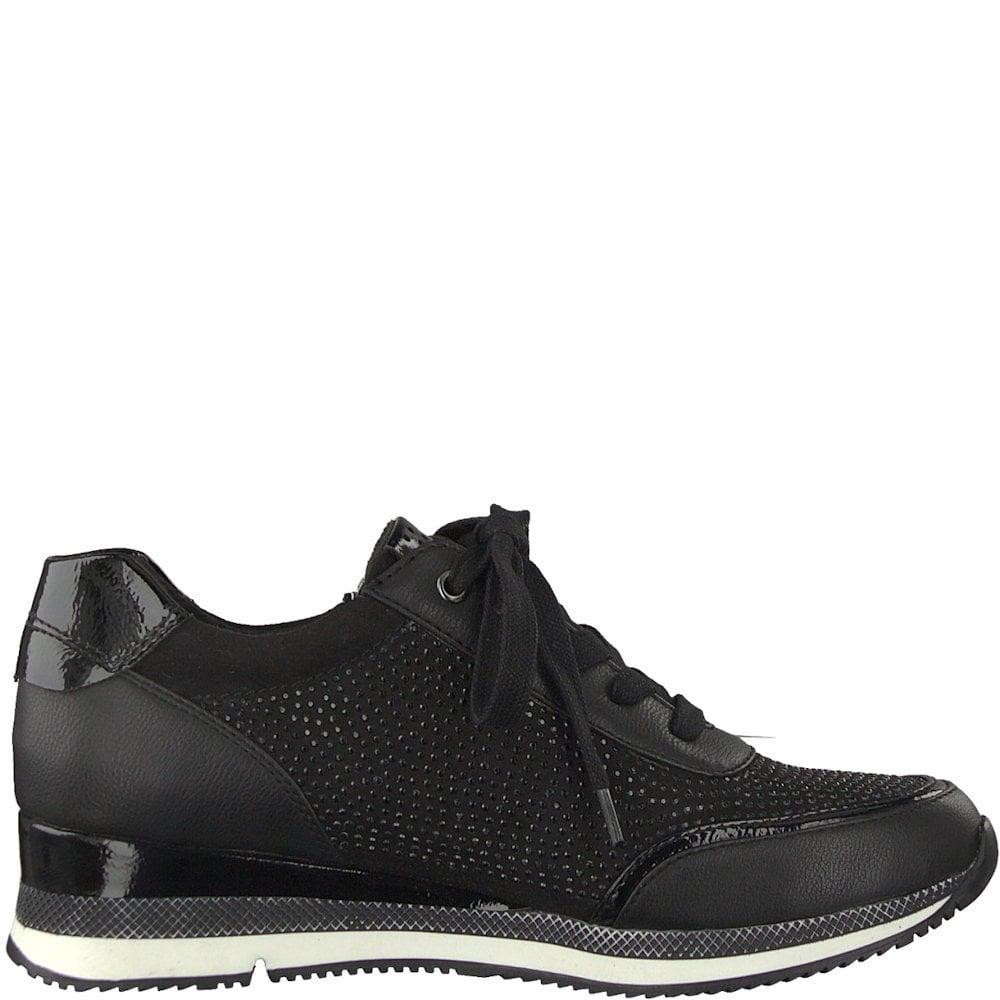 Marco Tozzi Womens Sneaker Shoes - Black   Millars Shoe Store 6c49d385a1