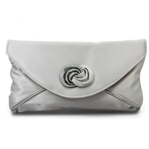 Lunar - Ripley Silver Satin Clutch Bag ZLR222 - Millars Shoe Store