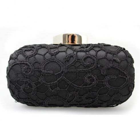 Lunar Coral Woman's Black Lace Clutch Bag