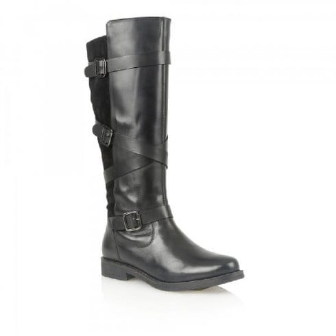 Lotus Rydel Black Leather & Suede Knee-High Boots