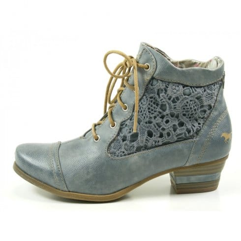Mustang Womens Sky Blue Ankle Boot | Millars Shoe Store