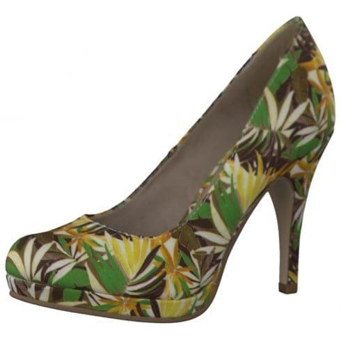 Tamaris Womens Floral Court Heels - 22407 - Green