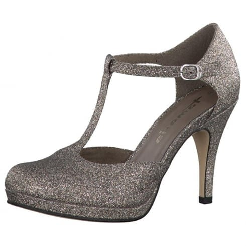 Tamaris T Bar Court Heels 24428 Platinum | Millars Shoe Store |