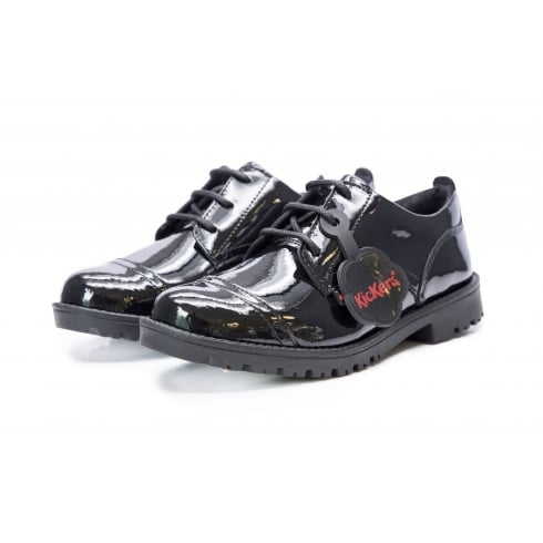 Kickers Girls/Womens Lachly Lace Black School Shoes -114112