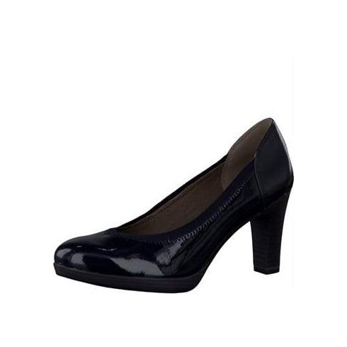 Tamaris Navy Patent Heels -22403-27 826