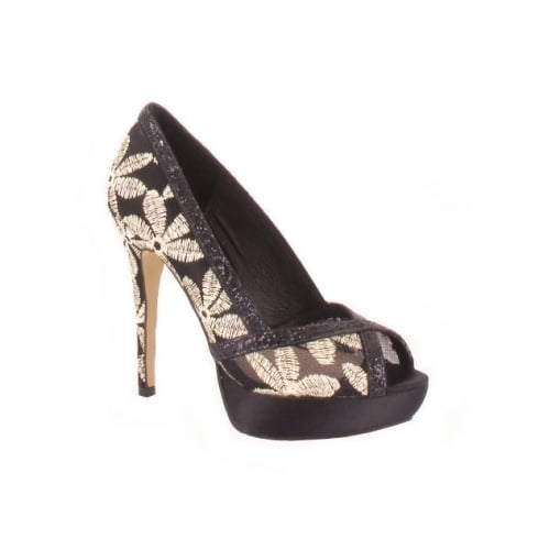 Menbur COSTELEY Black/Gold Peep Toe Platform - 05743