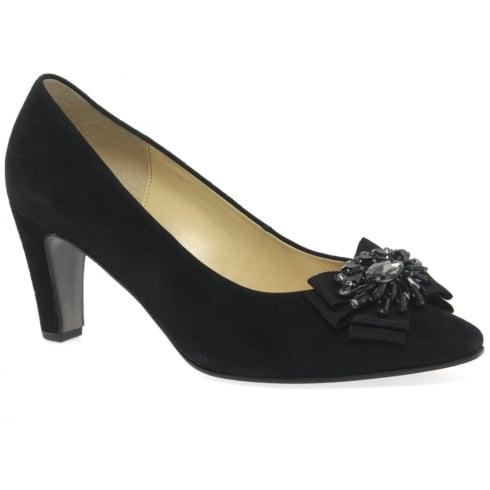 Gabor Ladies Black Suede Heeled Shoe