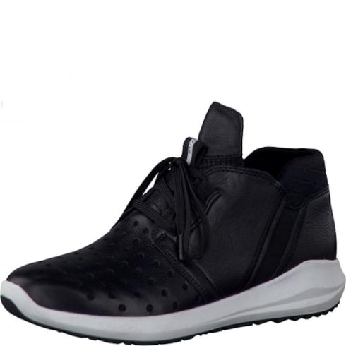 Tamaris Black Leather Laced Trainers - 25428-27 001
