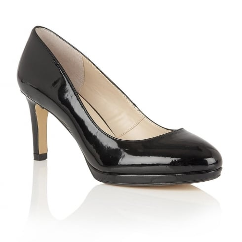 Lotus Calla Black Shiny Court Shoes - 50656