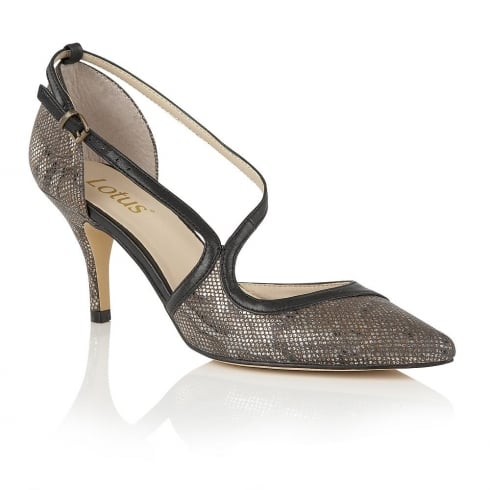 Lotus Hanako Bronze Snake Print Court Shoes - 50664