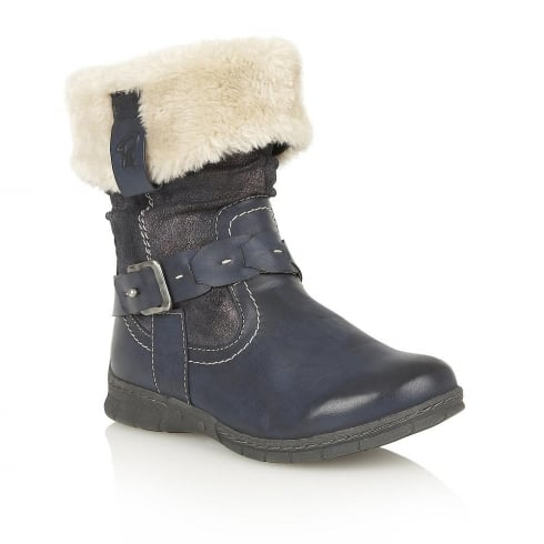 Lotus Relife Roxana Blue Faux-Fur Ankle Boots - 40232