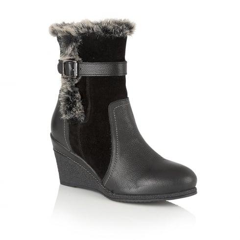 Lotus Varda Leather Black Mid-Calf Wedge Boots - 40278