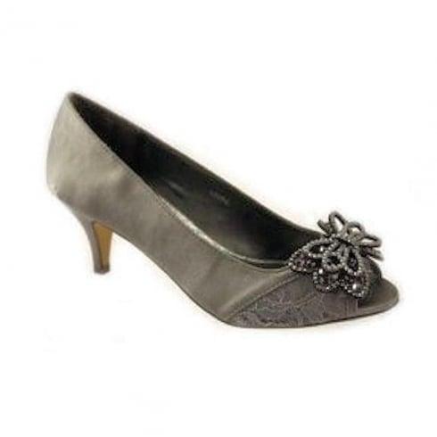 Lunar Laura Kitten Heel Occasion Shoes - Grey FLR364