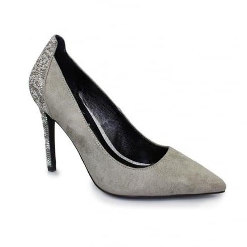 Lunar Haley Diamante Court Heels - Grey FLR377