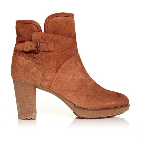 Moda In Pelle Calvo Womens Heeled Ankle Suede Boots -Tan