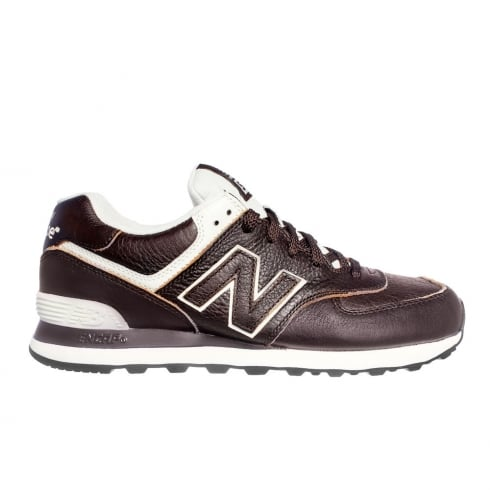 New Balance Unisex Trainers 574 Leather - Brown/Cream
