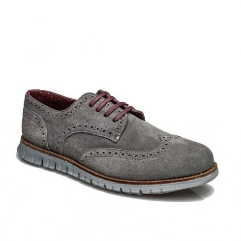 London Brogues Mens Gatz Casual Derby Shoes - Grey
