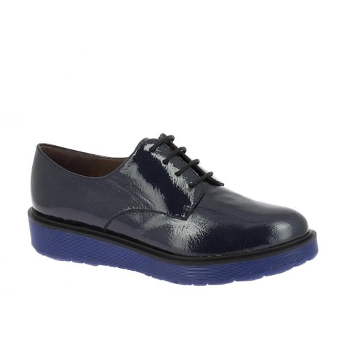 Wonders Rio Womens Flat Leather Derby Shoes - Noche/Navy - A-4321