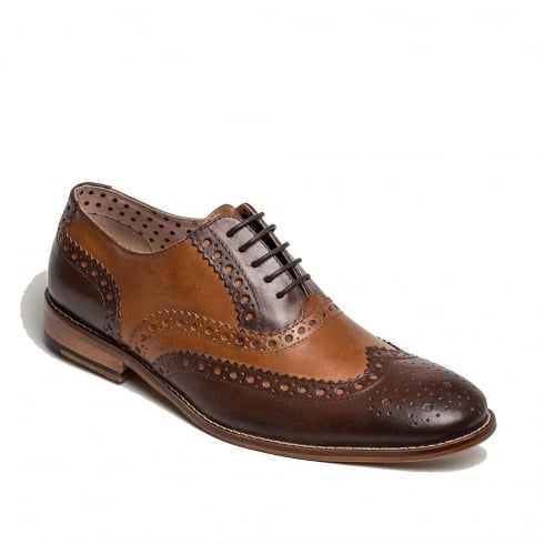 London Brogues Mens Gatsby Leather Brogue Smart Shoe - Tan & Brown
