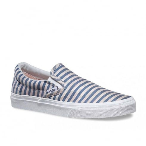 Vans Womens Classic Slip-On Stripes Shoes - Navy/Cream-3Z44IN