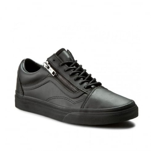 Vans Womens Gunmetal Old Skool Zip Shoes - Black -18GJTL