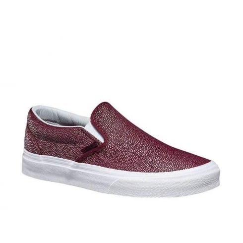 Vans Womens Embossed Stingray Slip-On Port Shoes-Burgundy-4MPJQZ