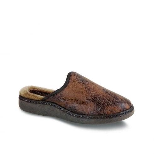 Lunar Goodyear Men's Leather Slippers - Brown - KMG006