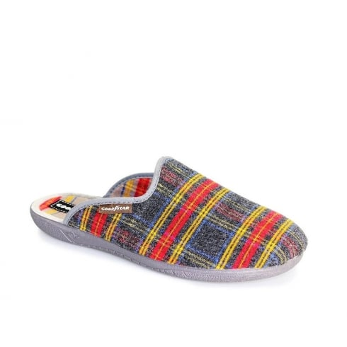 Lunar Goodyear Men's Checked Slippers - Grey - KMG013