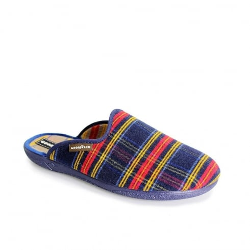 Lunar Goodyear Men's Checked Slippers - Blue - KMG013