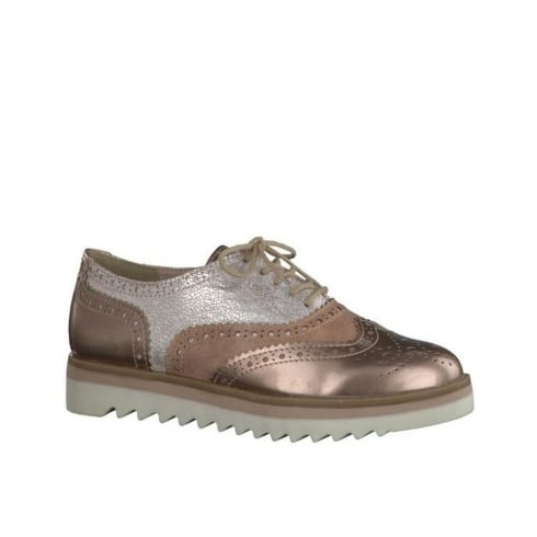 Marco Tozzi Metallic Rose Gold Lace Up Brogues 23705 38