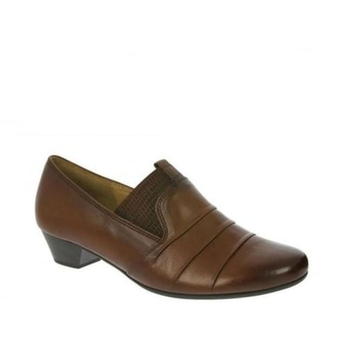 Gabor Jade Ladies Leather Low Heel Shoes - Brown/Castagno - 55.421.24