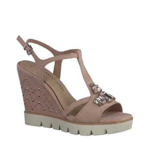 Marco Tozzi Stylish Wedge Sandal - Rose