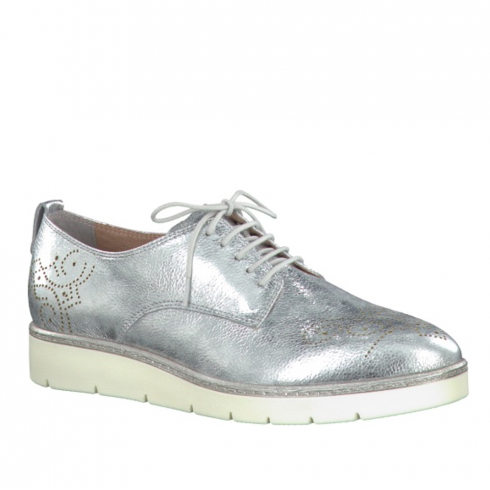 Tamaris Womens Metallic Brogues Shoes - Silver - 23303-28