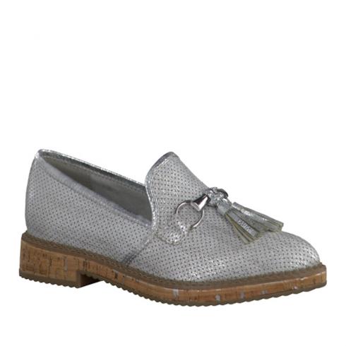Tamaris Womens Metallic Loafer Shoes - Silver White - 24705-28