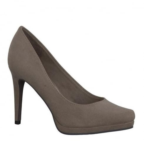 Tamaris Womens Suede Court Heels - Taupe - 22446-28 341