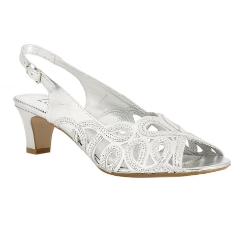 Lotus Harper Low Heeled Slingback Leather Sandal - Silver - 50136