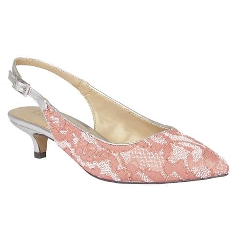 Lotus Kohar Lace Slingback Kitten Heels - Coral - 50802