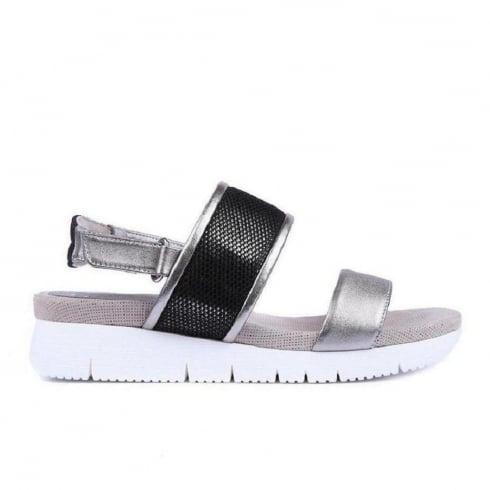 Unisa Buce Leather Flat Sandal - Grey/Black - Buce