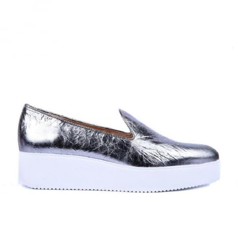 Unisa Caldo Leather Flat Platform Loafers - Steel/Silver - Caldo