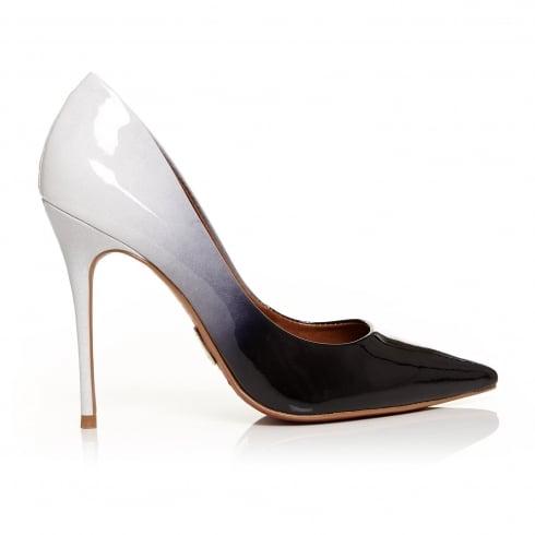 Moda In Pelle CRISTINA Black Pale Grey Patent Ombre Court Shoe