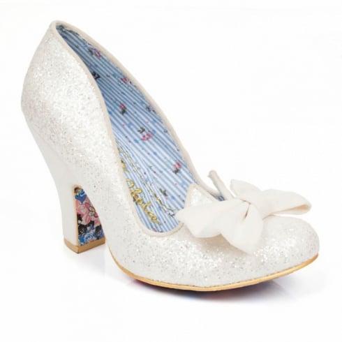 Irregular Choice Nick of Time Court Heel - White Glitter