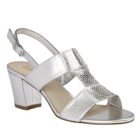 Lotus Perifllo Silver Lea-Snake Heeled Sandal - 50752