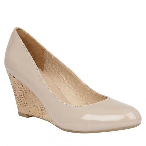Lotus Jelico Nude Shiny Wedge Shoes