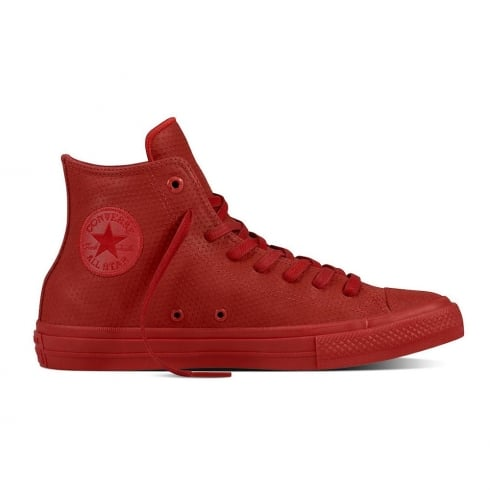 Converse Chuck II Lux Leather Hi Top Laced Mens Red Trainers