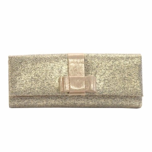 Glamour Gold Spotted Bow Clutch Bag